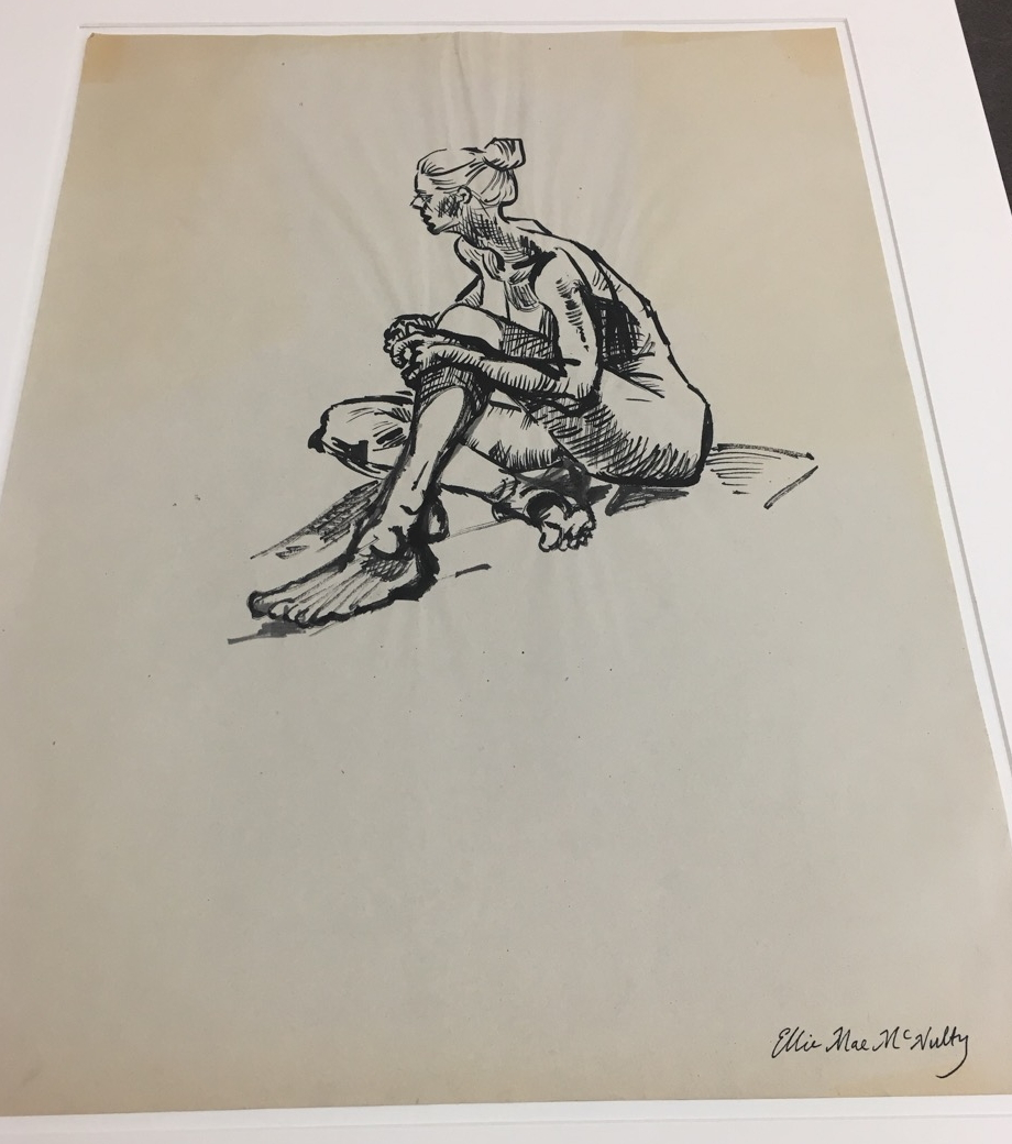 sketch of nude sitting woman
