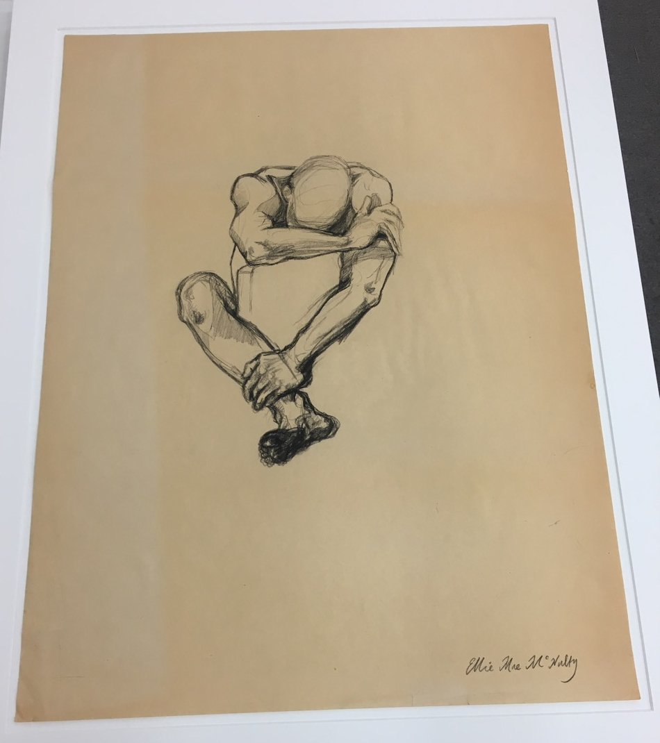 sketch of nude sitting man